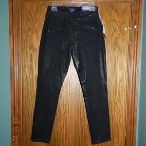 NWT NYDJ Black Shiny Stretch Leggings
